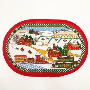 Vintage 90's Christmas Woven Hot Plate Hot Pad